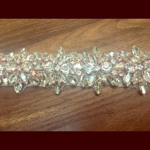 Rose Gold Jeweled Organza Sash